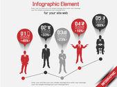 Homem de negócios moderno infográfico vermelho 5 — Vetorial Stock