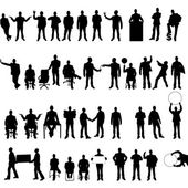 MEGA COLLECTION OF FORTY BUSINESS MAN SILHOUETTE 2 — Stock Vector
