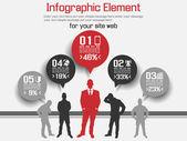 BUSINESS MAN MODERN INFOGRAPHIC RED — Cтоковый вектор