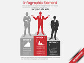 BUSINESS MAN MODERN INFOGRAPHIC RED 4 — Cтоковый вектор