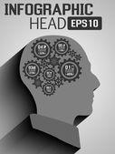 INFOGRAPHIC HEAD NEW STILE GEAR — ストックベクタ