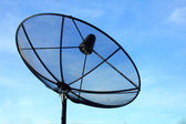 Black antenna communication satellite dish — Stok fotoğraf