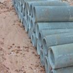 堆叠式混凝土排水管 — 图库照片