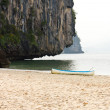 Stock Photo: Outrigger canoe on beach
