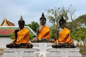 Three Buddha in temple — Stock Photo