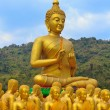 Many buddha statue under blue sky in temple — Stock Photo #43282321
