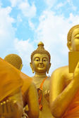 Many buddha statue under blue sky in temple — Photo
