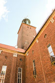 Summer scenery of City Hall Tower in the Old Town in Stockholm,  — Stock Photo