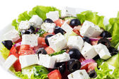 Greek salad in plate closeup — Stock Photo
