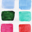 Handpainted various watercolor squares — Stock Photo