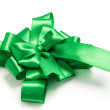 Award green bow made of ribbon — Stock Photo