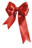 Festive red bow made of ribbon — Stock Photo