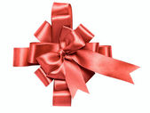 Award red bow made of ribbon — Stock Photo