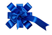 Award blue bow made of ribbon — Stock Photo