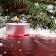 Новогодний фон с свеча — Стоковое фото