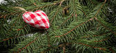 Christmas textile ornament on fir branch — Stock Photo