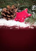 コーンと星とのクリスマス背景 — ストック写真