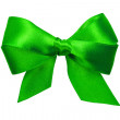 Green bow with tails from ribbon — Stock Photo