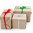 Three gift boxes from recycled paper — Stock Photo #15626355