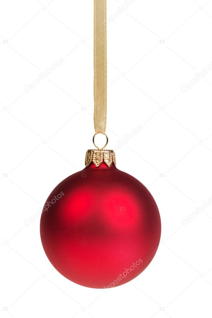Christmas ball hanging on ribbon isolated on white  Stock Photo #16163969