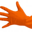 Hand in orange glove count to five — Stock Photo #16765857