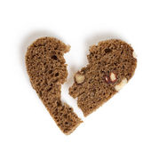 Brocken heart from bread — Stock Photo