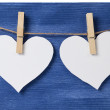 Two paper hearts hanging on a rope — Stock Photo