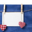 Fabric hearts and empty card on wooden background — Stock Photo