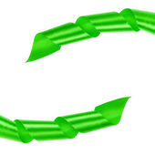Green curled ribbon frame — Foto de Stock