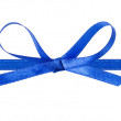 Thin blue bow with horizontal ribbon — Stock Photo