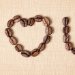 Declaration of love with coffee beans — Stock Photo