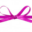 Thin purple bow with horizontal ribbon — Stock Photo