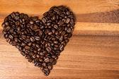 сердце fron кофейных зерен — Стоковое фото