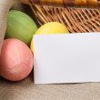 Easter eggs with card — Stock Photo