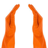 Two hands in protective gloves — Stock Photo