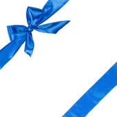 Blue ribbon with bow, square composition — Stock Photo