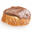 Stock Photo: Baguette slice spread with nut-choco paste
