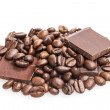 Coffee beans and chocolate bars — Stock Photo