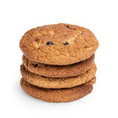 Oat cookies with raisins in stack — Stock Photo