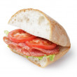 Big sandwich with salami cheese and tomato — Stock Photo