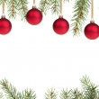 Christmas tree with red balls — Foto Stock