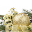 Christmas tree twig with ball composition — Stock Photo
