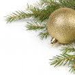 Christmas tree twig with balls composition — Stock Photo