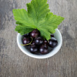 Stock Photo: Fresh garden blackcurrant in white bowl