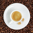 Fine espresso in cup on coffee beans — Stock Photo