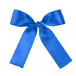 Blue festive tied bow made from ribbon — Stock Photo