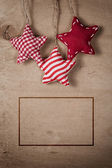 Christmas vintage decorations hanging on string — Stock Photo