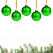Green chrostmas balls with twig — Stock Photo