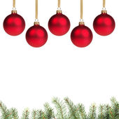 Redchrostmas balls with twig — Stock Photo