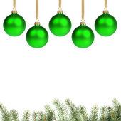 зеленый chrostmas шарики с ветки — Стоковое фото